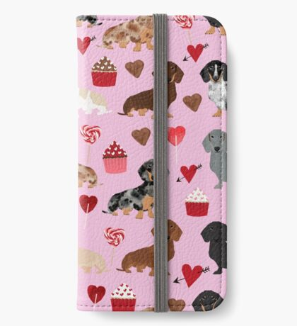 Dachshund valentine heart cupcakes dog breed dachsie doxie weener dogs iPhone Wallet