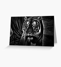 tiger, glowing tiger, black and white Greeting Card