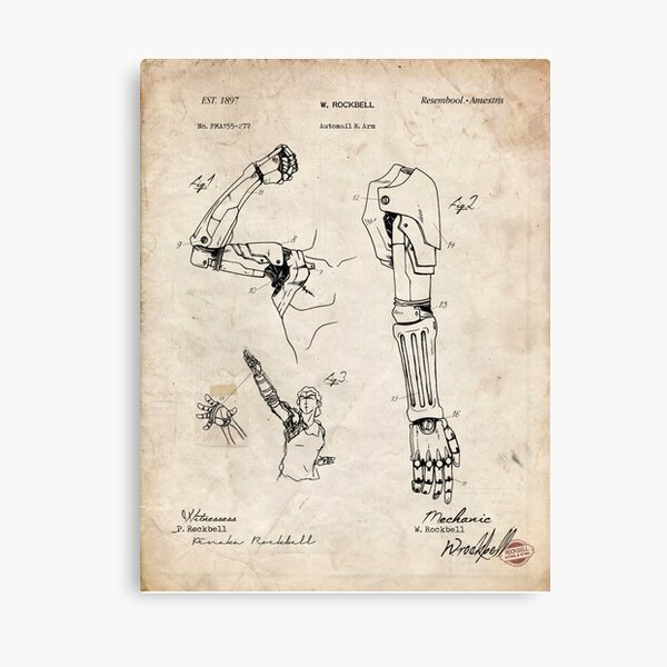 Fullmetal Alchemist - Automail Arm Patent Drawing Canvas Print