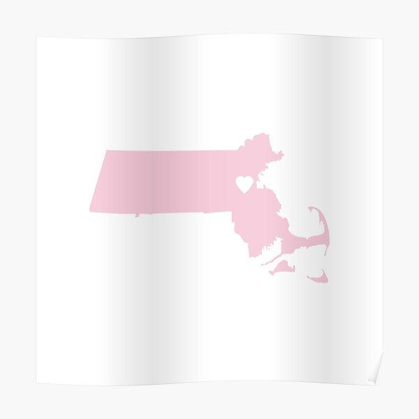 Massachusetts Love in Pink Poster
