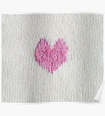 pink knitted heart Poster
