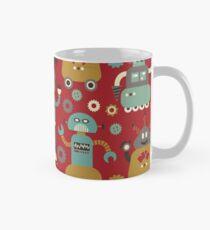 Retro Robots on Red Classic Mug