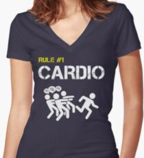 Zombie Survival Rule #1 Cardio Women's Fitted V-Neck T-Shirt