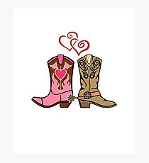 Cowboy Boots and Cowgirl Boots Illustrated Shirt Photographic Print