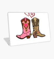 Cowboy Boots and Cowgirl Boots Illustrated Shirt Laptop Skin