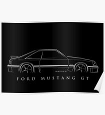 Ford Mustang (fox body) - profile stencil, white Poster