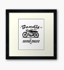 The Bandit Retro Motorcycle T-Shirt Framed Print