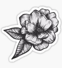 Flower Black and White Sticker