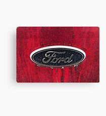 Ford Truck Emblem Dirty Drawing Style Photograph Canvas Print