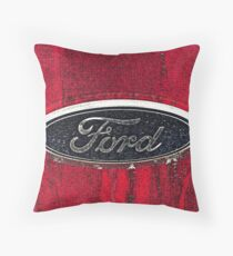 Ford Truck Emblem Dirty Drawing Style Photograph Throw Pillow