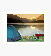 Corky's camping Art Print