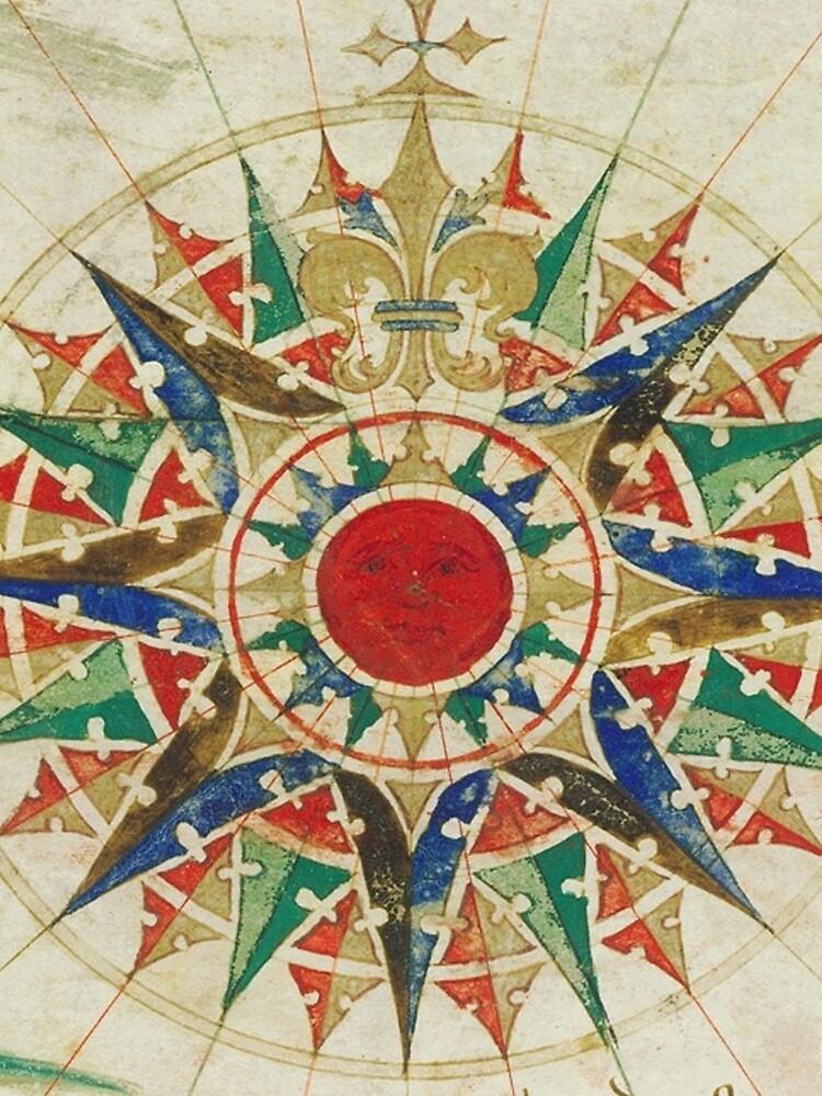 Vintage Kompass Rose Diagramm (1502) von BravuraMedia