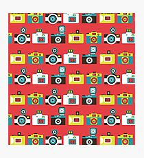 Colorful Toy Cameras Pattern Photographic Print