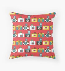 Colorful Toy Cameras Pattern Throw Pillow