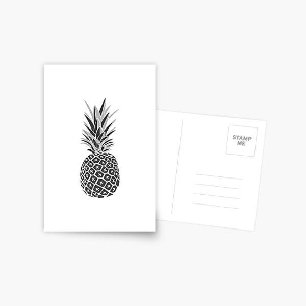 Minimalist Black & White Pineapple Postcard