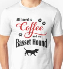 Coffee and my Basset Hound Unisex T-Shirt