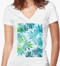 Tropical Adventure - Blue Women's Fitted V-Neck T-Shirt