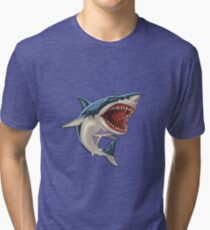 Cartoon Shark Tri-blend T-Shirt