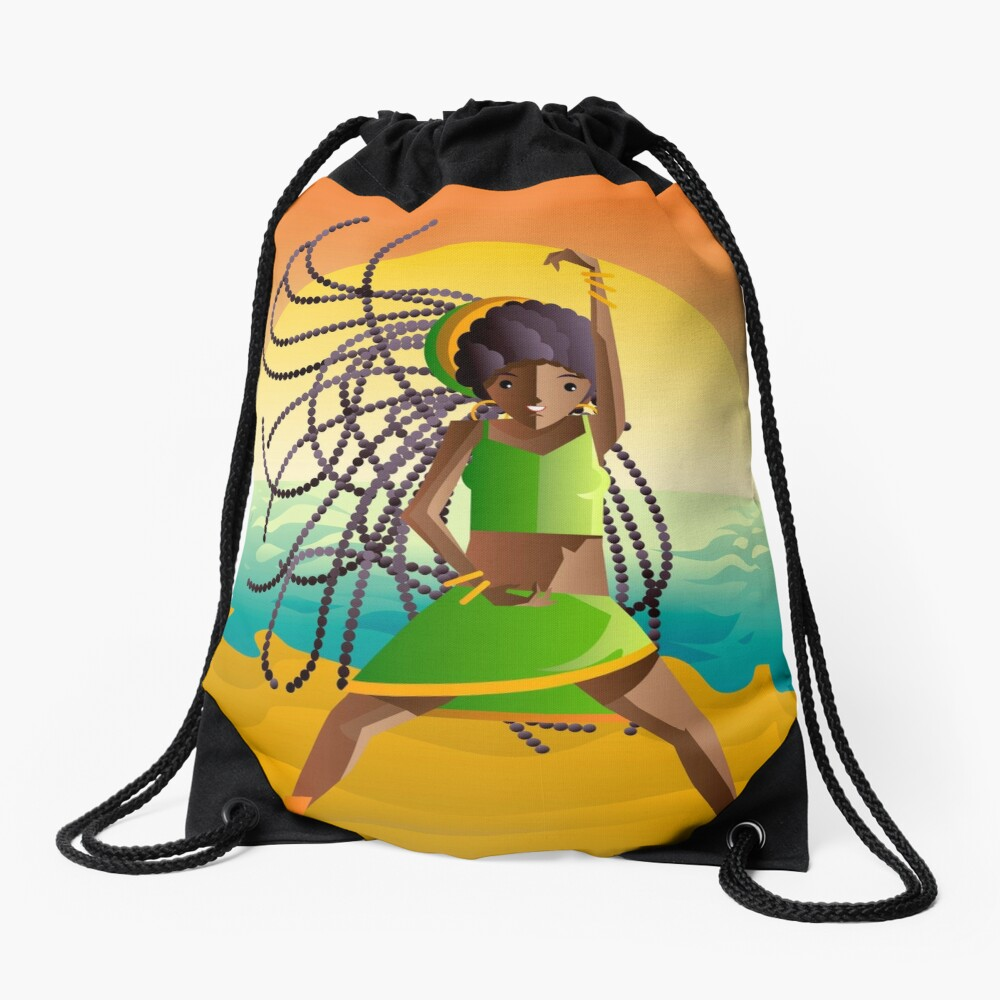 dancehall samba brazilian dancer in the beach Drawstring Bag