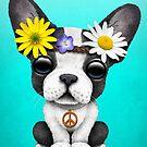 Niedlicher französische Bulldoggen-Welpen-Hippie von jeff bartels
