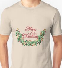 Merry Christmas Red Green Holly Needlepoint Unisex T-Shirt