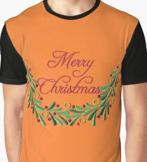 Merry Christmas Red Green Holly Needlepoint Graphic T-Shirt
