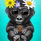 Niedlicher Baby Gorilla Hippie von jeff bartels