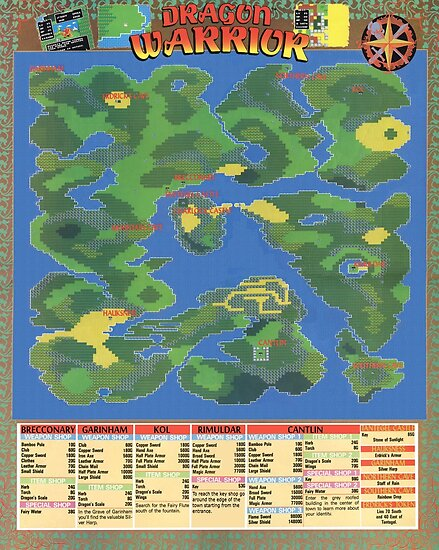 NES Dragon Warrior Map Poster Rare And Super Cool Posters By - Cool map posters