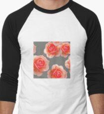 Blushing Roses Pattern Men's Baseball ¾ T-Shirt