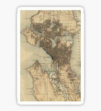Vintage Map of Seattle Washington (1908) 2 Sticker