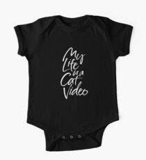 My Life is a Cat Video - White Hand Lettering - on Black One Piece - Short Sleeve