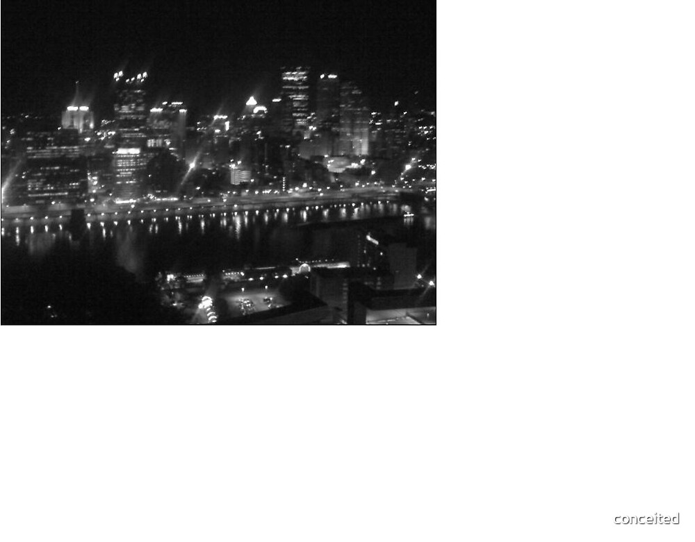 Black n White Pittsburgh skyline by conceited
