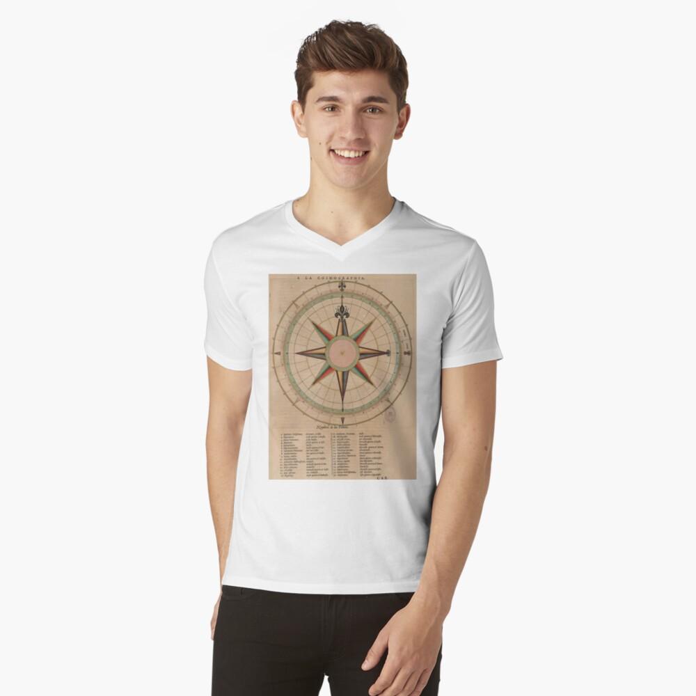 Vintage Compass Rose Diagram (1664) V-Neck T-Shirt
