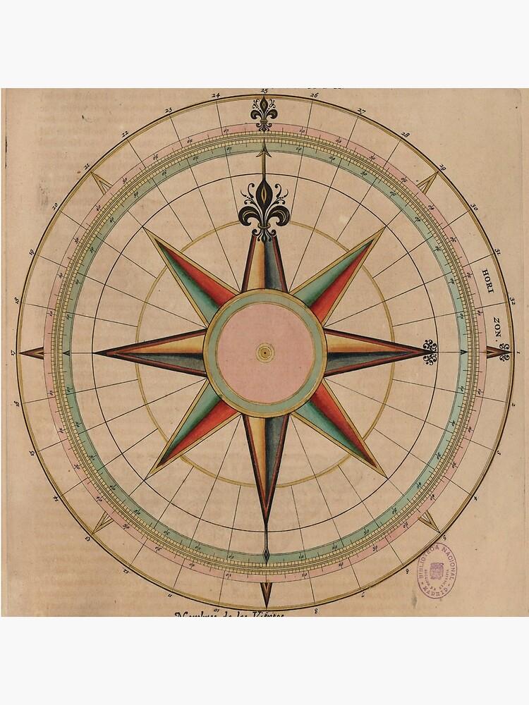 Vintage Compass Rose Diagram (1664) by BravuraMedia