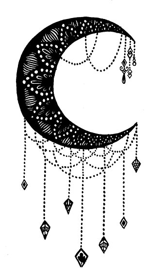 "Tattoo Stencils Printable Moon: ""Crescent Moon Tattoo Design"" Photographic Print By"