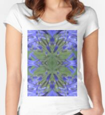 Blue Flower Design Women's Fitted Scoop T-Shirt