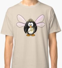 Penguin Fairy with Pink Wings, Crown, Wand and Fairy Dust Classic T-Shirt