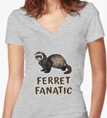 Cute Funny Ferret Fanatic Women's Fitted V-Neck T-Shirt