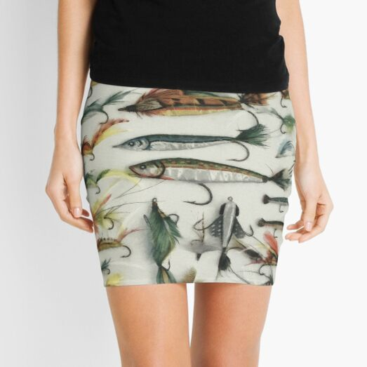 1920's Fishing Flies Mini Skirt