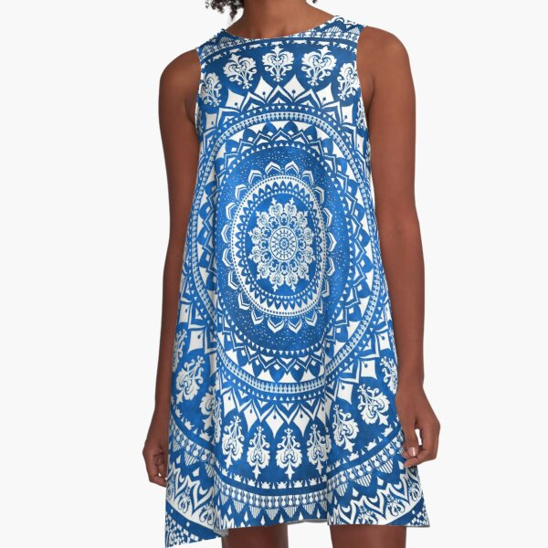 Mandala azul Vestido acampanado
