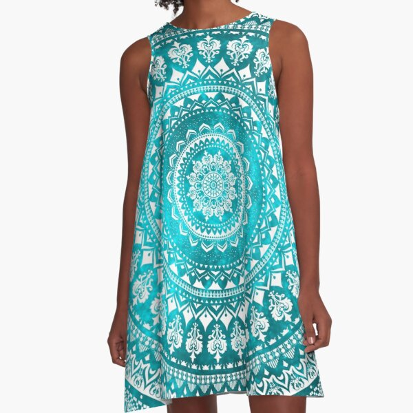 Mandala Turquoise A-Line Dress