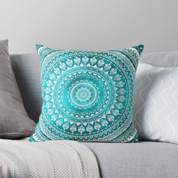 Mandala Turquoise Throw Pillow