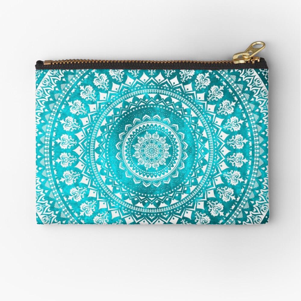 Mandala Turquoise Zipper Pouch
