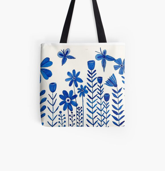 Blue Flower All Over Print Tote Bag