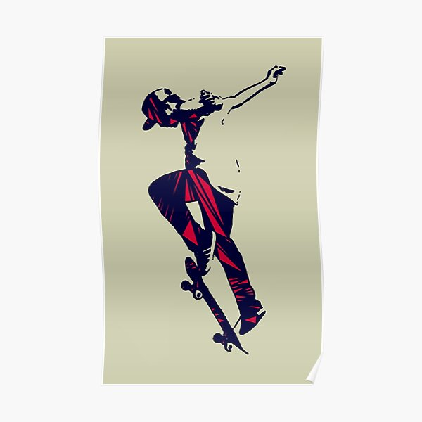 Skater (Red Triangles) Poster