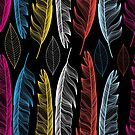 Graphic seamless pattern with colorful feathers by Tanor