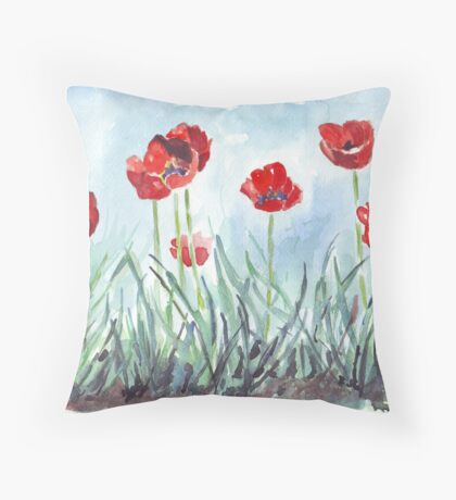 Poppies mean Spring! Throw Pillow