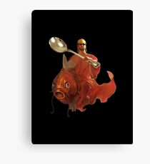 Jesus Riding A Magikarp Wielding A Giant Spoon And Wearing Glasses Canvas Print