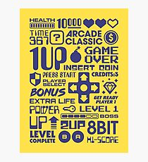 Arcade Game Text Interface Graphics - Yellow Photographic Print