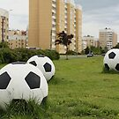 Big soccer balls on the green lawn by mrivserg